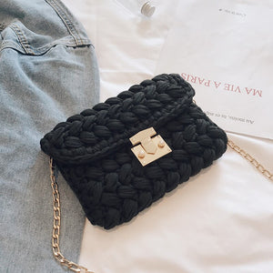 2019 Ins New Single-shoulder Oblique Bag Fashion Girdle Thread Hand-woven Finished Product Including Chain - HeyHouse