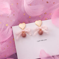 Sweet Flower Pink Geometric Round Heart Long Dangle Pearl Earrings for Women Girl - HeyHouse