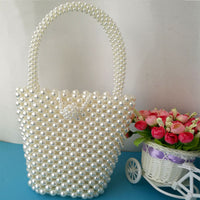Pearls Beading Bags For Women Handbag Fashion Handmade Pearls Handbags Women Vintage Evening Party Bag Ladies Luxury Tote 2019 - HeyHouseCart