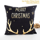 Merry Christmas Cushion Cover/ Throw Pillow Gold Linen Cotton Soft Cute Cushion Covers Santa Xmas Decorative Sofa Pillow Case /Throw Pillow - HeyHouse