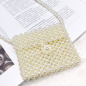 Small Pearls Beading Shoulder Bag Vintage Mini Feminine Elegant Messenger Bag Korean Trendy Handmade Retro Chic Crossbody Bag - HeyHouse