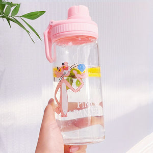 Unique Mini Cute Water bottles Milk Box Shape Transparent glass Cartoon pink panther Drink Bottle Drinkware - HeyHouse