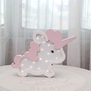 Nordic Unicorn Wall Decoration Battery LED Night Lamp - HeyHouse