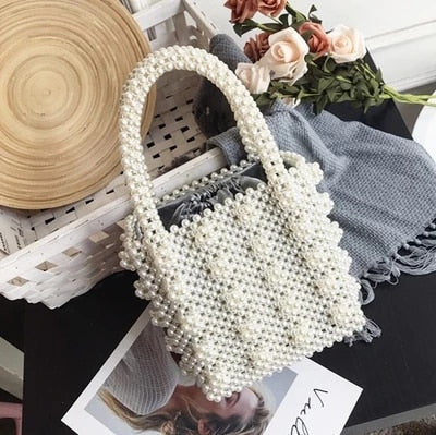 Handmade Pearl Lady Tote Luxury Handbags Small Box Evening Bag Fashion Vintage Female Top-handle Purse Chic ins Box Bag Brand - HeyHouse
