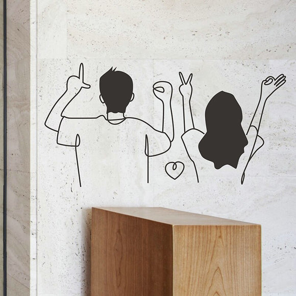 Couple Lover Coffee Shop Dinning Room Home Decorations Removable Wall Stickers