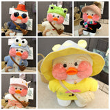 Kawaii Duck Dolls Plush Toys Cafe Duck Clothes Plush Toys Cute Animal Soft Toys Duck Stuffed Doll Toys For Kids Girl Gift Toys