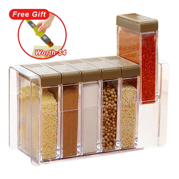 Kitchen Seasoning Bottles Jars Boxes Plastic Spice Lid Can Sugar Layers Storage Organizer Box Home Organization Accessories Item - HeyHouseCart