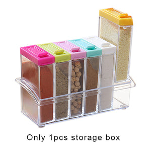 Kitchen Seasoning Bottles Jars Boxes Plastic Spice Lid Can Sugar Layers Storage Organizer Box Home Organization Accessories Item - HeyHouse