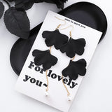 Black Simple Exaggeration Geometric Flower Drop Earrings for Women - HeyHouse