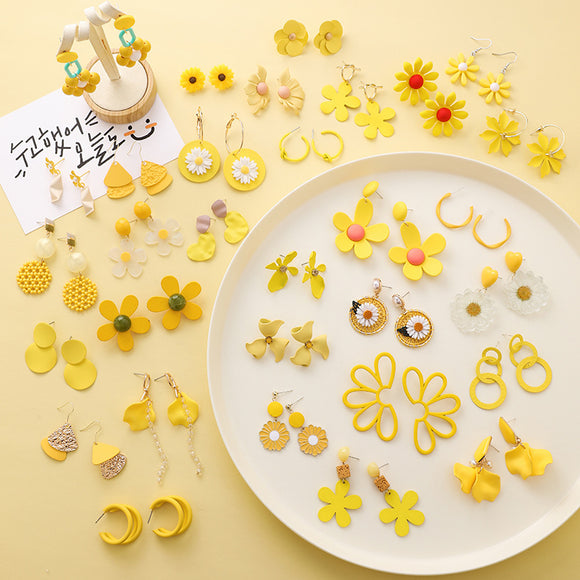 Yellow Candy Color Flower Geometric Cute Earrings