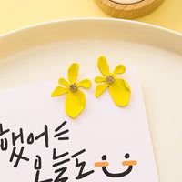 Yellow Candy Color Flower Geometric Cute Earrings - HeyHouse