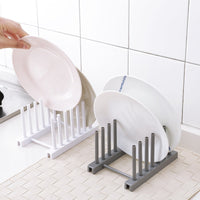 Kitchen Racks White Plastic Dish Lid Holder Kitchen Supplies Storage Rack Drain Holder Storage Organizers - HeyHouseCart