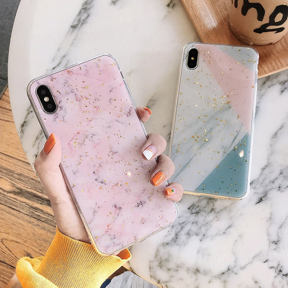 Gold Powder Marble Case For iPhone