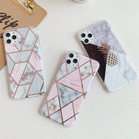 Plating Pineapple Marble Case For iPhone 11 Pro XR XS Max 6 6s 7 8 Plus Shockproof Soft TPU Phone Back Cover Gift