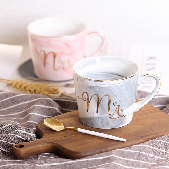 380ml Marble Ceramic Mug Travel Coffee Mug Milk Tea Cups Creative Mr and Mrs Mugs Pink Gold Inlay Breakfast Home Decor - HeyHouse