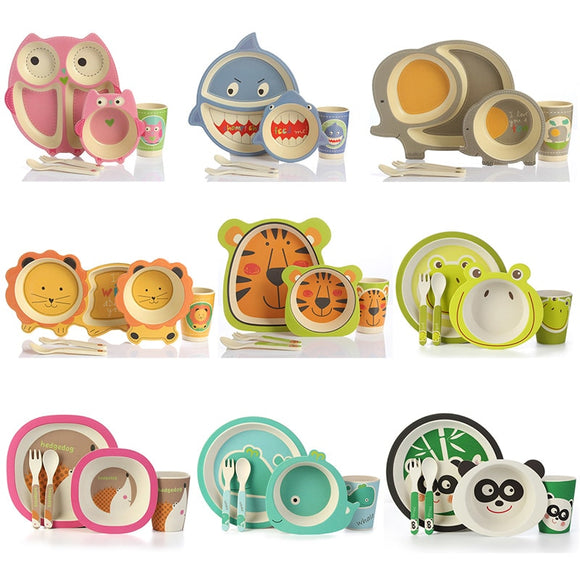 5pc/set Baby Dishes Bowl Cup Plates Sets Bamboo Fiber Cute Cartoon Feeding Toddler Tableware Children Dinnerware Set - HeyHouse