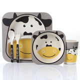 5pcs/set Animal Zoo Baby Plate Bow Cup Forks Dinnerware Feeding Set 100% Bamboo Fiber Baby Children Tableware Set - HeyHouse