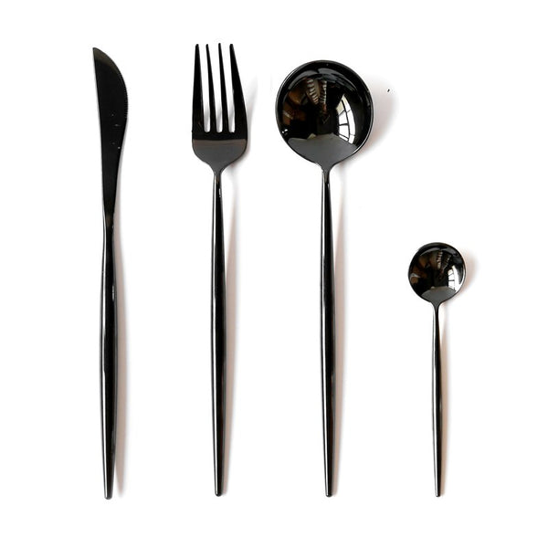 Dinnerware Set mirror design 304 Stainless Steel Cutlery Set 4 pcs Black Knife Fork Set Tableware Portugal Solid Cutlery - HeyHouseCart