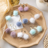 Long Sweet Fur Ball earrings - HeyHouse