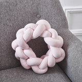 Lovely Velvet Knotted Braided Cushion Ball Chunky Pillow Handmade Candy Color Knotted Modern Brief Decor Pillow 38cm - HeyHouse