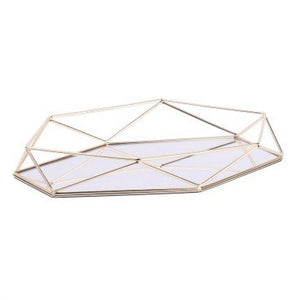 Metal Geometry Rose Gold Storage Plate Metal Jewelry Plant Cupcake Container Luxurious Storage Tray Home Organizer for Weeding - HeyHouse
