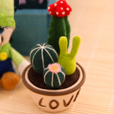 Handmade Mini Felt Cactus Succulent Garden in Pot - HeyHouse
