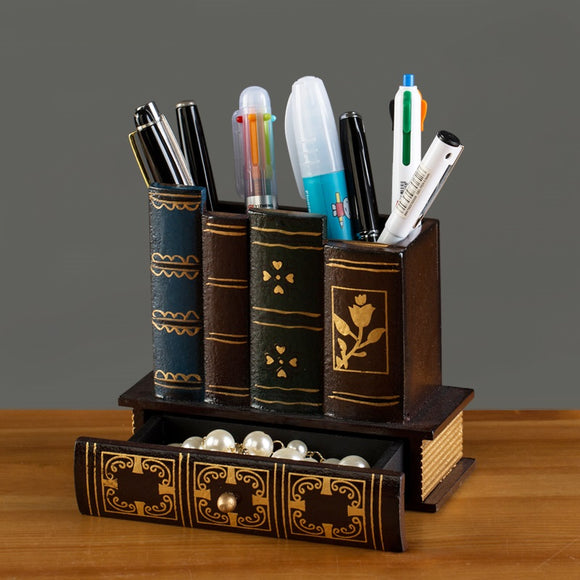Multifunction Retro Wooden Pen Holder Book Shape Wood Craft Home Decor Pencil Desktop Storage Box Drawers Stationery Holder Gift - HeyHouse