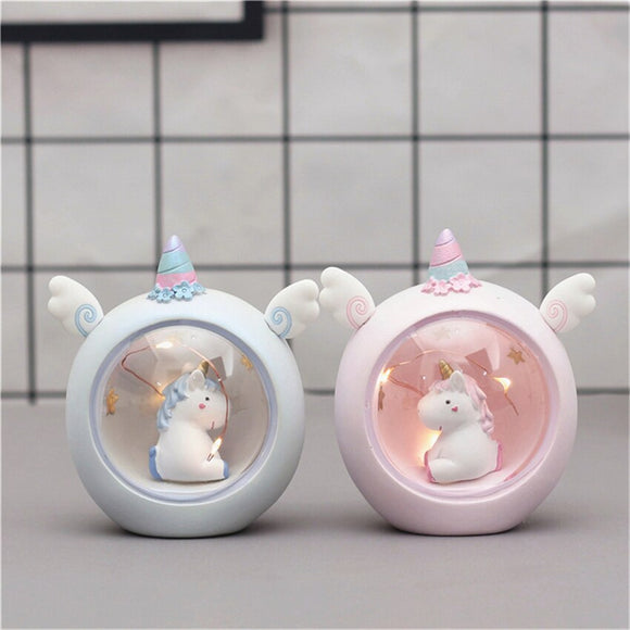 Newly Kawaii Unicorn Resin Sleep Lights Yellow Warm Light With Stars Baby Girl Room Decor Home Decoration Girl Christmas Gifts - HeyHouse