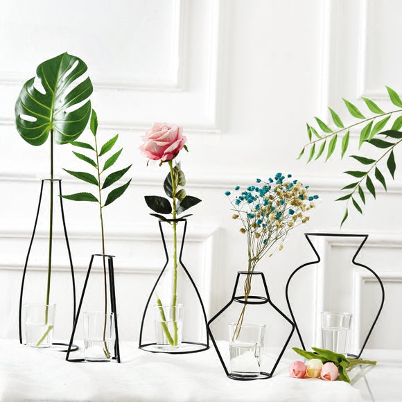 Nordic Iron Vases for Plants Shelving Flower Vase Garden Modern Creative Vase for New Year Decor Home Decoration Accessories - HeyHouse