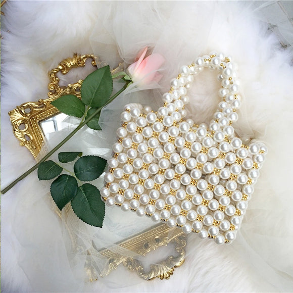 Pearls Beading Women Shoulder Bag Fashion Pearls Bag For Women 2019 Handmade Hollow Evening Party Tote Luxury Girls Box Flap New - HeyHouse