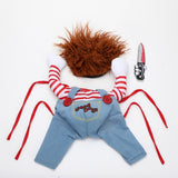 Dogs Holding a Knife Halloween Christmas Costume Novelty Funny Pet Cat Party Cosplay Apparel Clothing