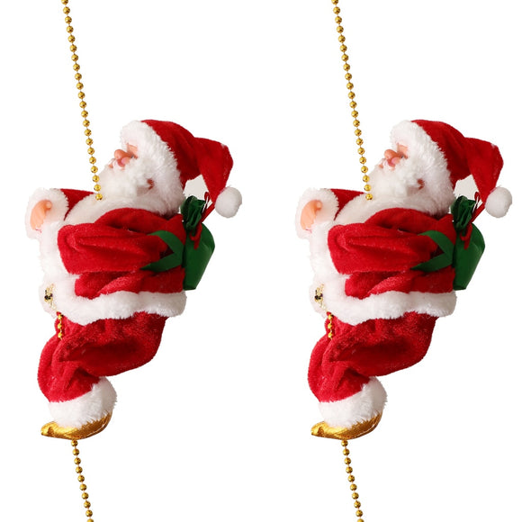Novelty Plush Fabric Musical Climbing Santa Claus Moving Figure on Plastic Chain 9 Inch