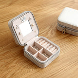 Portable jewelry case packing PU Leather Jewelry Box Makeup organizer Cosmetic box&Mirror travel earring Ring casket - HeyHouse