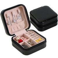Portable jewelry case packing PU Leather Jewelry Box Makeup organizer Cosmetic box&Mirror travel earring Ring casket - HeyHouseCart