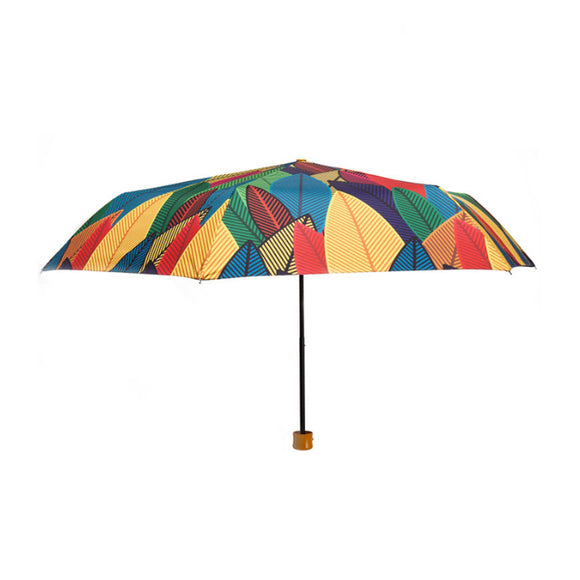 Rainbow Leaves Umbrella Colorful 3 Folding Sunny And Rainy Umbrella For Women - HeyHouse