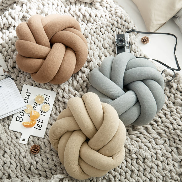 Cotton DIY Hand Knot Back Cushion Cozy Car Lumbar Pillow Sofa Seat Cushion