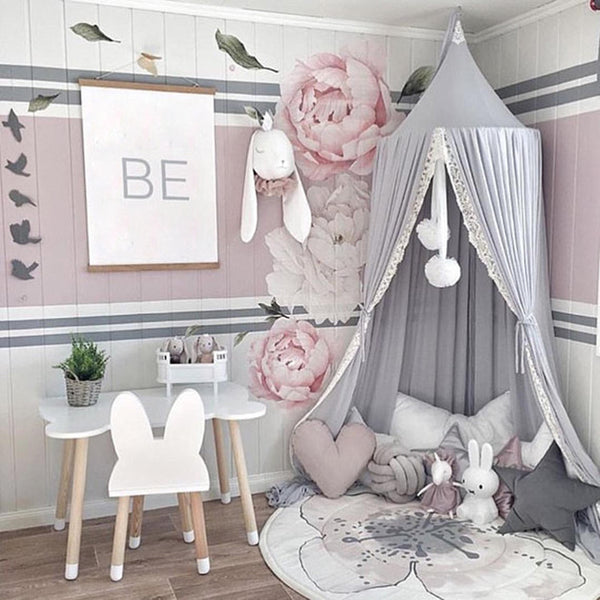 Round Pink/White/Gray Bed Canopy for Girl Baby - HeyHouse