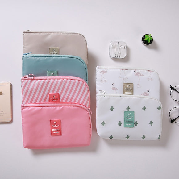 Travel bag Lady toiletries Handbag make up Organizer Zipper Cosmetic storage Bag Digital USB Cable Charger Earphone Stuff case - HeyHouse