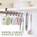 2PCS Under-Cabinet Hanger Rack 6 Hooks Black/White Iron Hooks Cup Holder
