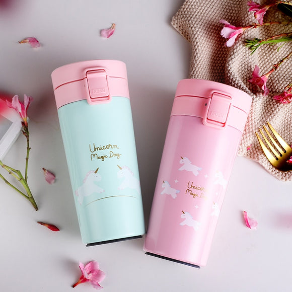 Unicorn Thermos Coffee Mug Travel Vacuum Flask Stainless Steel Portable Water Bottle Insulation Tumbler Cup Thermocup 400ml - HeyHouse