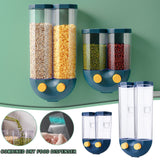 Wall Mounted Press Cereals Dispenser Grain Storage Box Dry Food Container Organizer Kitchen Accessories Tools