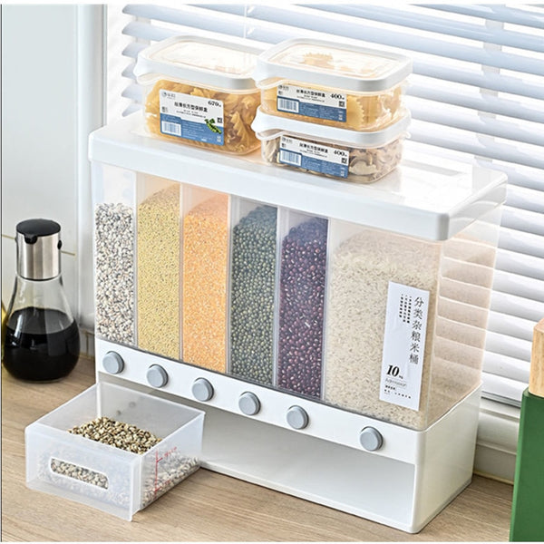 Wall-Mounted Seperated Grain Cereal Can Rice Storage