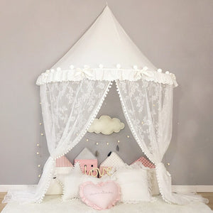 White Lace Curtains Princess Canopy Hanging Baby Bed Tent Mosquito Net for Kids