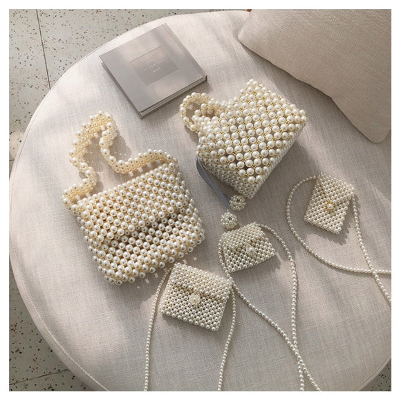 Women Evening Party Handbag Pearl Handmade Beaded Small Tote Bags Luxury Ladies Dress Bags Mini Bridal Bag Coin Purse Phone Bag - HeyHouse