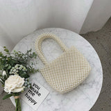 Women Vintage Pearls Handbag 2019 Spring Trendy Retro Chic Top Handle Bag Female Small Size Beading Classical Elegant Tote Bag - HeyHouse
