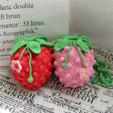 1 PCS Crochet Strawberry Pouch Hand-made Finished Product - HeyHouse