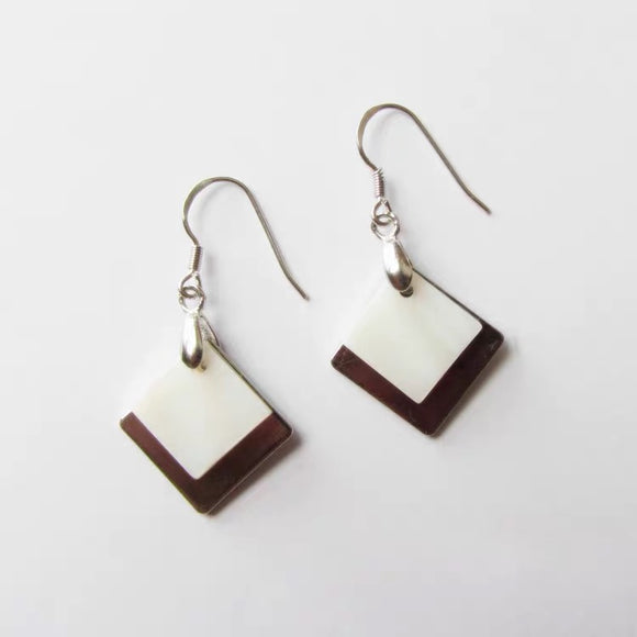 Square Shell Pendant Drop Earrings For Women - HeyHouse