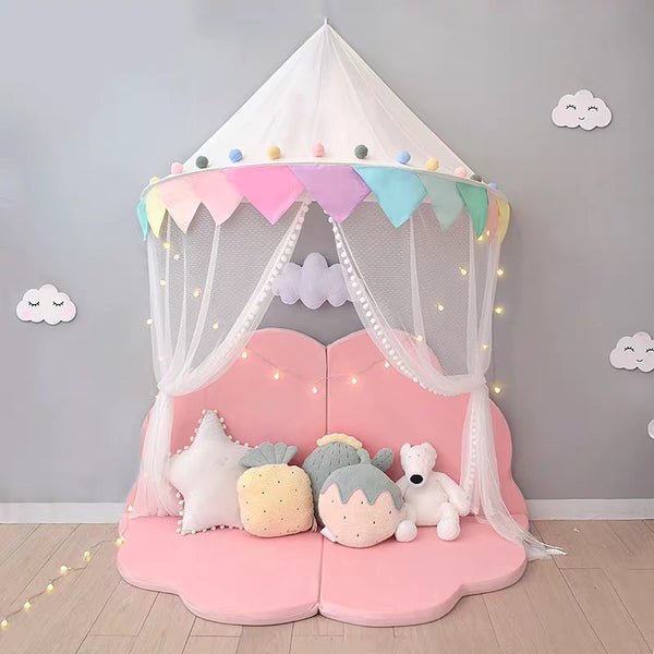 Kids Teepee Tents Children Play House Cotton Bed Tent Canopy Foldable Crib Tent Baby Room Decor - HeyHouse