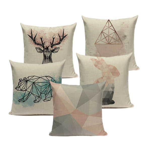 2019 Nordic Pop Geometry Cushion Cover / Throw Pillow Home Decorative Pillows Animals Car Sofa Throw Pillows Linen Print Custom Pillowcase/ Throw Pillow - HeyHouse