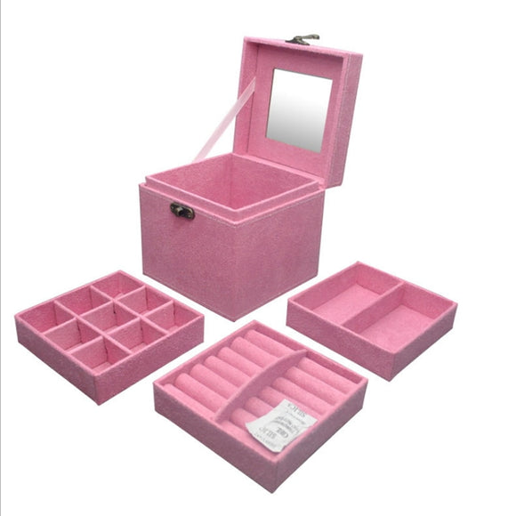 New 3 Layers Jewelry Storage Boxes Jewelry Case Makeup Organizer for Wedding Gifts Jewelry Organizer Casket Box - HeyHouse